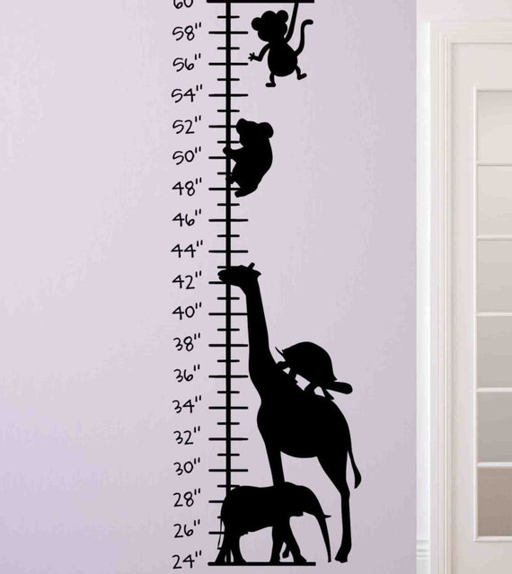 Animal Growth Chart Kids Growth Chart Children Wall Growth Etsy