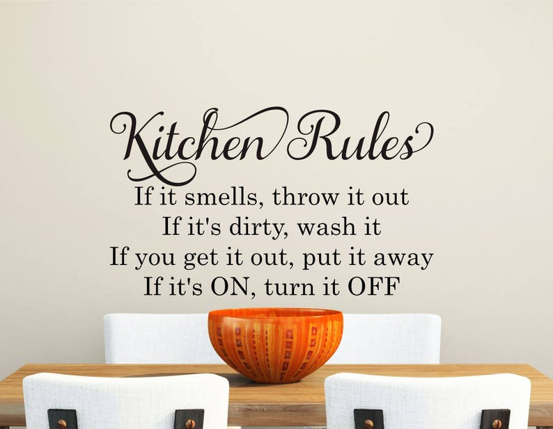 kitchen wall decal-kitchen rules-wall decal quotes-removable | etsy