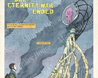 """Sci-fi Art Print - """"The Day The Eternity War Ended"""", Retro Science Fiction image for story inspiration"""