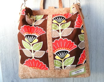 8628eef87d Convertible backpack in red flowered cork and cotton on brown background