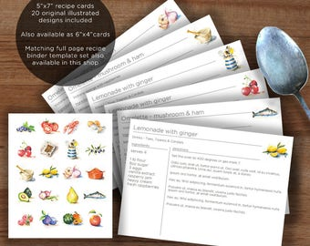Printable recipe card template with food illustrations, edit then print, 5x7 inch recipe binder cards | Instant download pack