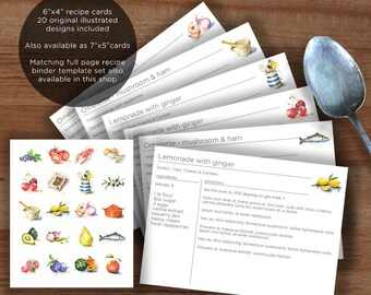 "Printable recipe card template, 20 original food illustrations, edit then print,6""x4"" recipe binder cards 