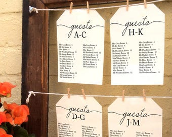 """Alphabetical wedding seating chart, printable find your table sign, 5x7"""" single table & top table card, crop straight or as large tags"""