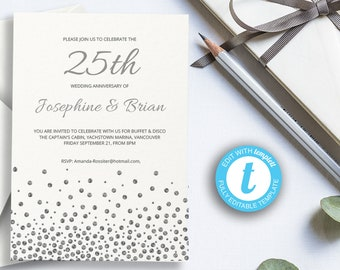 25th anniversary invitations etsy printable 25th silver wedding anniversary invitation wedding celebration template easy to customize twenty five years married party stopboris Image collections