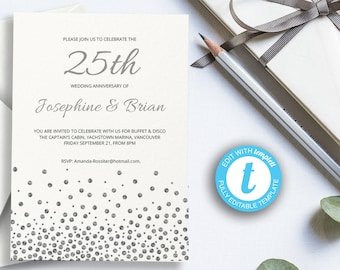 25th anniversary invitations etsy printable 25th silver wedding anniversary invitation wedding celebration template easy to customize twenty five years married party stopboris