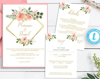 Wedding invitation template, pink blush roses on a faux gold trellis, printable enclosure card templates, easy to edit | Monogram wedding