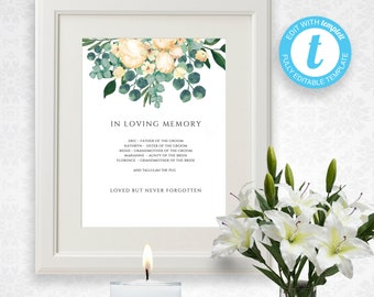 Printable Wedding Memorial Sign Template, White Bouquet, In Loving Memory,  Remembrance, Easy To Customize | Wedding Memory Table Ideas