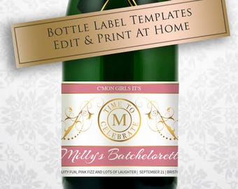 printable wine champagne label template customizable bottle etsy