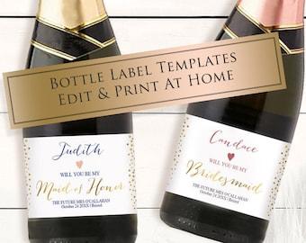 Mini Champagne Label Etsy - Mini champagne bottle labels template