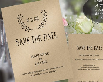 Printable rustic save the date postcard template,heart antlers motif, print both sides on 5x7 card
