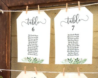 Greenery wedding seating chart, printable individual table plans, reception seating ideas, templates 5x7 and 6x4