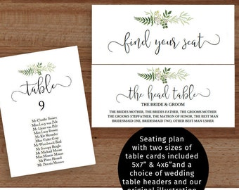 rustic greenery wedding seating chart diy printable table etsy