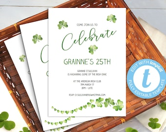 Printable shamrock invitation, Irish birthday celebration template, Irish themed party ideas | Edit in the browser app, St Patrick's Day
