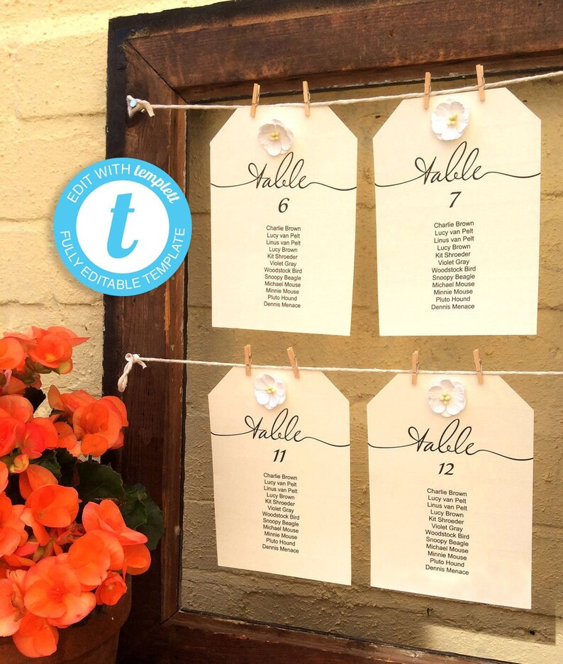 Wedding Seating Chart Template Single Hanging Table Charts Etsy