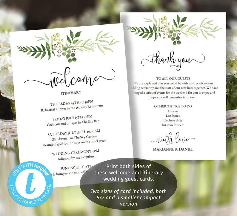 Printable Wedding Welcome With Greenery Bouquet Itinerary Thank You Templates Message Cards In Two Sizes Favor Bag Welcome Ideas