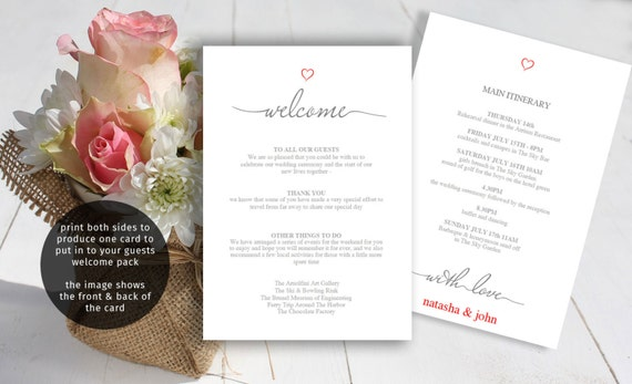 wedding itinerary template printable welcome letter guest etsy