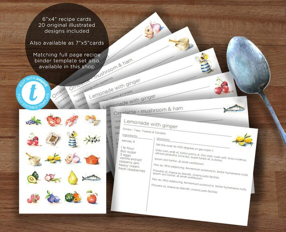 Printable recipe card template 20 watercolor food etsy image 0 forumfinder Choice Image