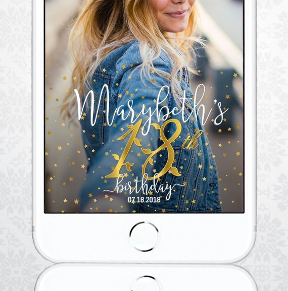 18th Birthday Snapchat Filter Easy To Customize Birthday Geo Etsy