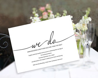 A wedding invitation printable suite, 'We Do' script design, edit and print 4 template pack. Invitation, details & 2 designs of RSVP card