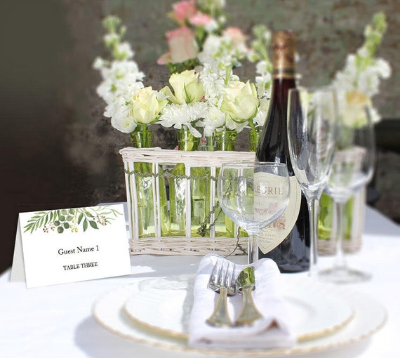 greenery wedding place card printable name card templates etsy