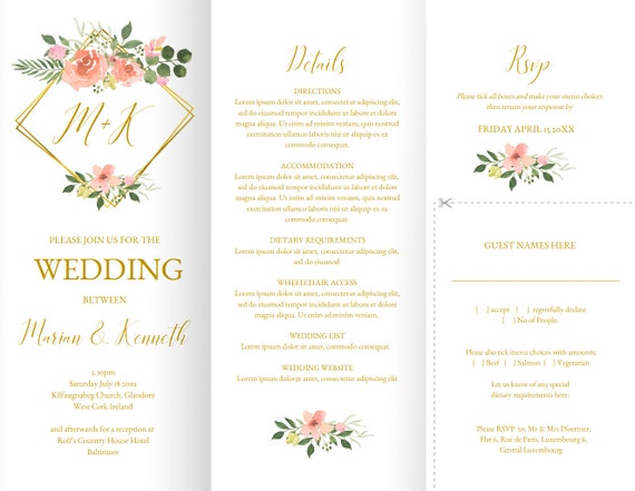 Trifold Wedding Invitation Template Pink Blush Rose With Faux Gold Trellis Printable On A Single Sheet Cut Out And Return RSVP