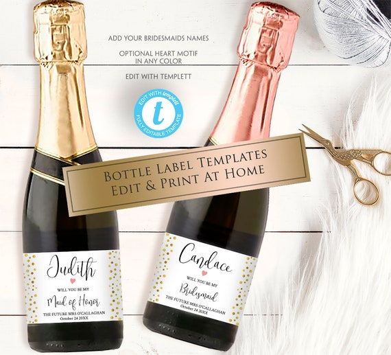 printable mini champagne label personalized bottle template etsy