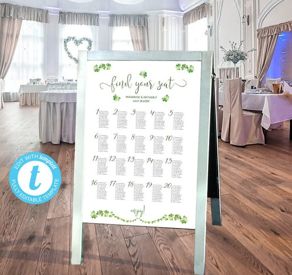 irish wedding seating chart easy to customize poster seating etsy