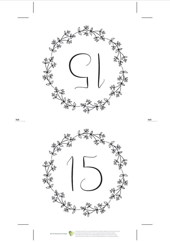 printable wedding table numbers 1 to 40 reserved top table etsy