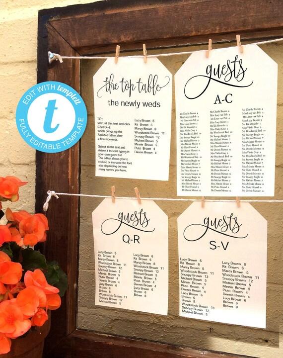 alphabetical wedding guest seating chart editable 5x7 etsy