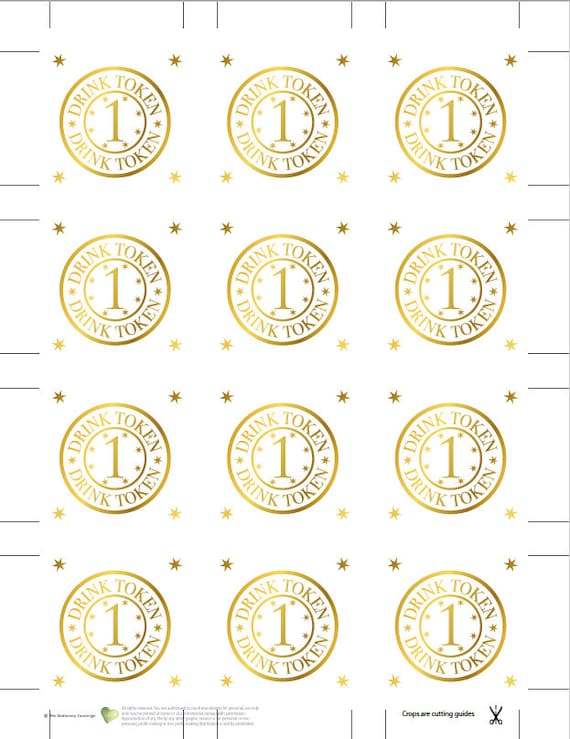 photograph about Printable Tokens identify Printable gold consume tokens, marriage ceremony bar beverages token template, no cost beverages bash favors suggestions