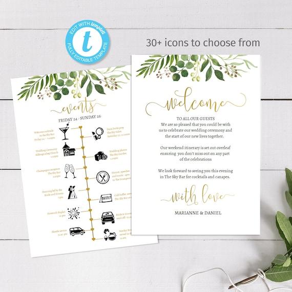 Gold Greenery Custom Wedding Weekend Timeline Printable Etsy