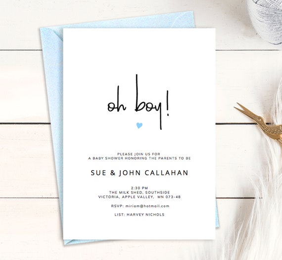 Printable Baby Boy Shower Invitation Oh Boy Card Template With Cute Blue Heart Gender Reveal Announcement Chic Design For Modern Parents