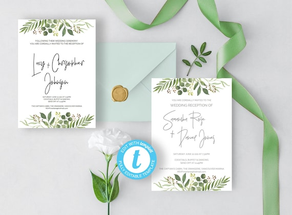 Modern Wedding Reception Invitation Easy To Customize Printable Post Wedding Ceremony Template Reception Only Chic Natural Greenery