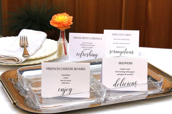 printable party buffet food signs editable wedding food label etsy