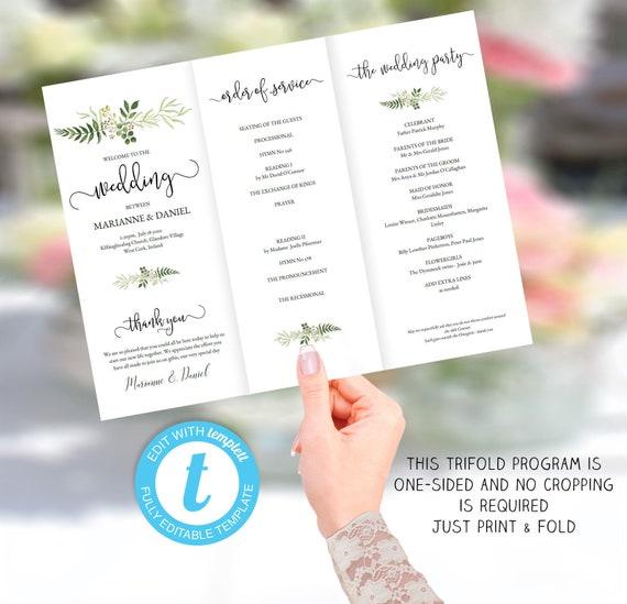 printable tri fold wedding program template order of service etsy