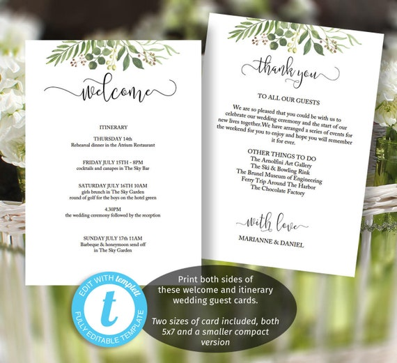 Greenery Wedding Itinerary Template Printable Welcome Message Etsy