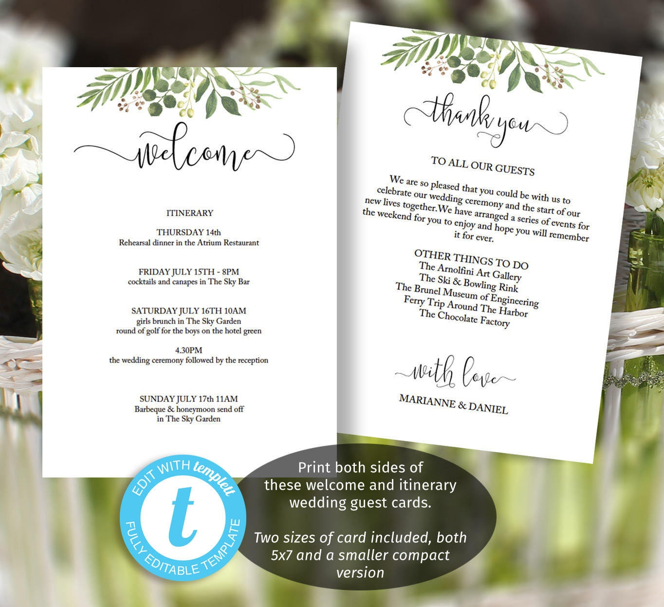 Greenery Wedding Itinerary Template Printable Welcome Message Letter For Guests Thank You Card 5x7 And 6x4 Included Print 2 Sides