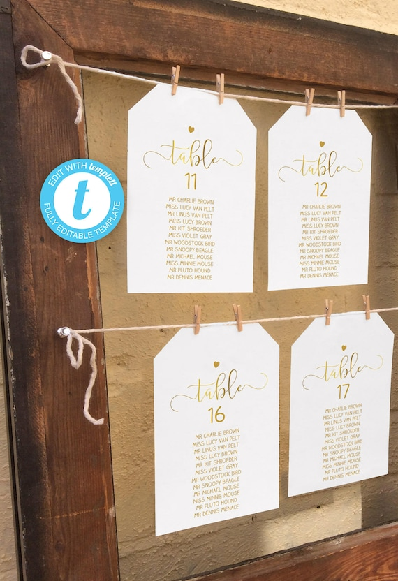 Editable Faux Gold Wedding Seating Chart Diy Printable Etsy