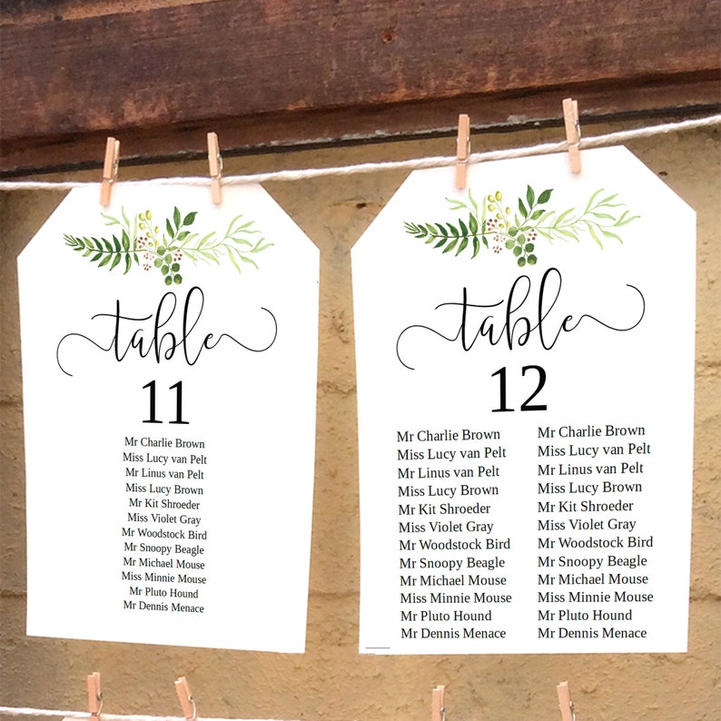 Miraculous Rustic Greenery Wedding Seating Chart Diy Printable Table Plan Wedding Reception Hanging Seating Chart Templates 5X7 And 6X4 Inch Download Free Architecture Designs Crovemadebymaigaardcom