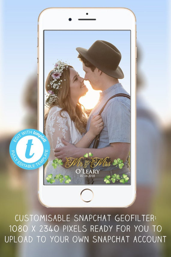 custom irish wedding snapchat filter green irish shamrock & | etsy