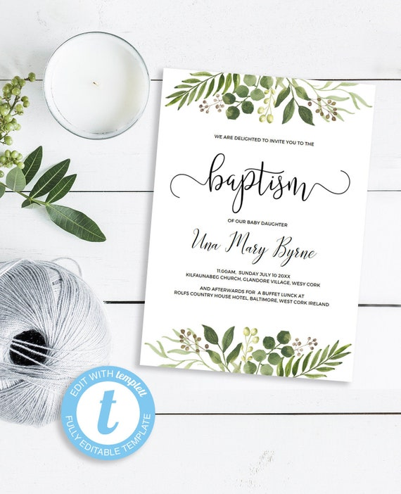 Baptism Invitation Template Printable Christening Card Baby Blessing Ideas Customize In Your Browser