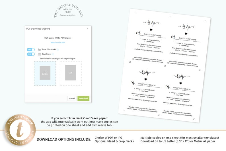 change headings to suit printable wedding response and enclosures 3.5 x 5 inch cards Boho RSVP /& detail card templates tiny heart motif