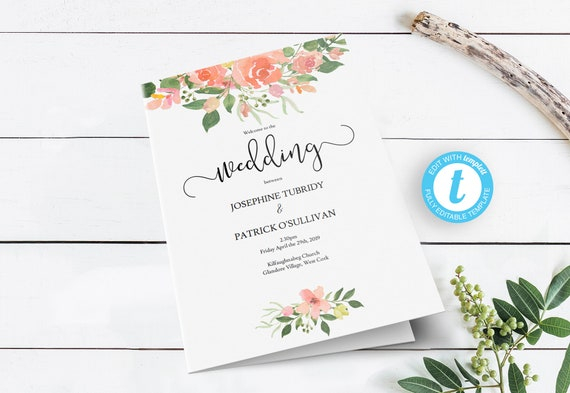 pink rose folding wedding service program printable order of etsy