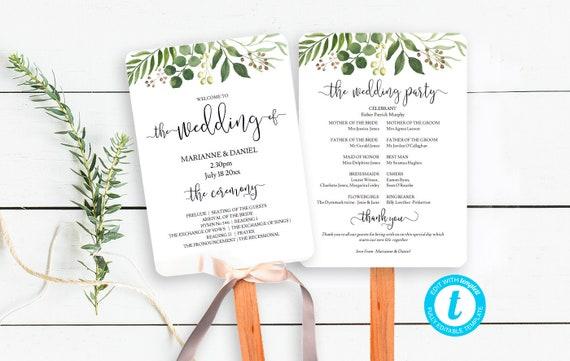 Outdoor Wedding Ceremony Fan Program With Greenery