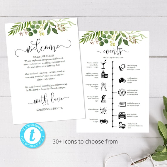 Easily customised wedding weekend timeline, DIY printable itinerary  template, over 30 icons, greenery watercolor, welcome message, 2 sided
