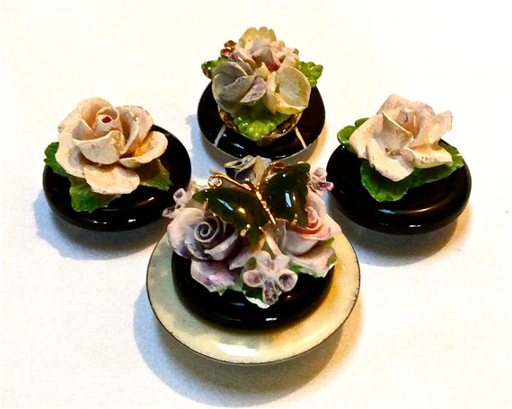 Porcelaine fleur rose réfrigérateur aimants pendaison de crémaillère cadeau Bling Victorian Style aimants pour réfrigérateur celui des aimants pour réfrigérateur cadeau unique