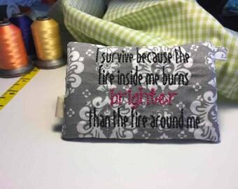 Cancer Awareness Embroidered zipper purse