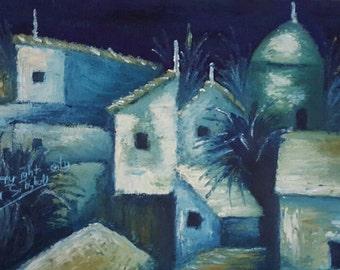 print of oil painting, village, Spain