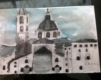 medieval city skyline brochure