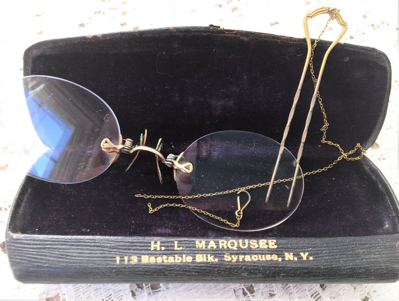 83123af4465 Antique Pince Nez Ladies Eyeglasses with case on a Hairpin